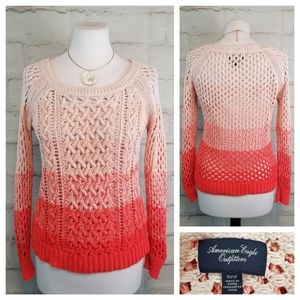 American Eagle XS Orange Ombre Open-Knit Sweater
